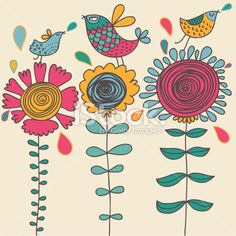 Birds on flowers Royalty Free Stock Vector Art Illustration