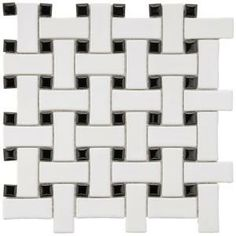 Merola Tile Basket Weave 9-3/4 in. x 9-3/4 in. Black and White Porcelain Mosaic Floor/Wall Tile