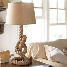 Want to make a coiled rope lamp base? Thread thin wire through the rope  	  to be able to bend and shape and then soak in PVC glue - one tha...