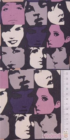 """pop art portraits checker fabric with women and men's grey, blue, pink, purple, and off-white faces on black cotton, Material: 100% cotton, Pattern Repeat: ca. 30cm (11.8"""") #Cotton #People #USAFabrics Pop Art Face, Pop Art Portraits, Alexander Henry, Retro Fabric, Black Fabric, Fabric Patterns, Black Cotton, Cotton Fabric"""
