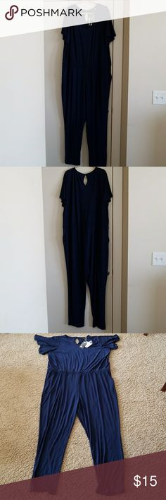 Anthony Originals Jumper Anthony Originals Jumper.  Navy Blue Size 3x.  V Neck with Bottom Back.  95% polyester and 5% spandex. Estate Sale!!!!! Anthony Originals Pants Jumpsuits & Rompers