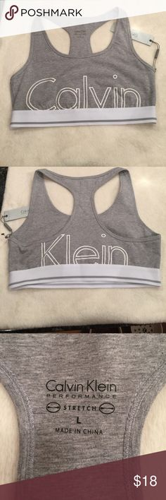 Grey Calvin Klein sports bra No padding.  Color is a little lighter than appears in the photo Calvin Klein Intimates & Sleepwear Bras