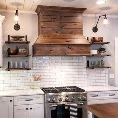 New farmhouse kitchen stove hood ideas Kitchen Vent Hood, Kitchen Stove, Kitchen Redo, Home Decor Kitchen, New Kitchen, Home Kitchens, Wood Hood Vent, Wood Range Hoods, Kitchen Ideas