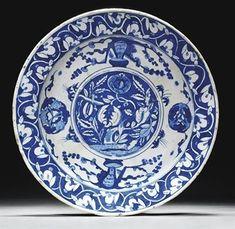 A blue and white Iznik pottery dish, Ottoman Turkey, circa 1560