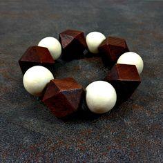 Statement Bracelet  Wood Bracelet White Brown Geometric by Pilboxx