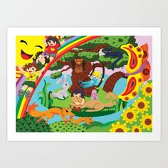 a group of kids playing and having fun in a world of imagination. #kids #children #playing #havingfun #games #swing #slides #butterfly #fox #sun #owl #cat #rabbit #bunny #foxes #fun #zarya