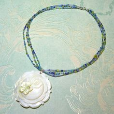 White Carved Rose Flower Shell Necklace | Micah5five - Jewelry on ArtFire