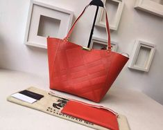 Burberry The Small Canter In Bonded Leather Tote In Vibrant Orange