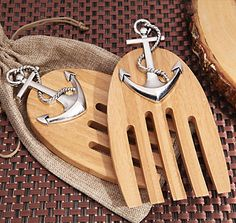 Our exclusive Cassiani collection design is a set of Bamboo wooden salad servers accented with a nautical chrome anchor design and come packaged in a rustic burlap bag . Nautical Wedding Favors, Candle Wedding Favors, Personalized Wedding Favors, Unique Wedding Favors, Wedding Party Favors, Bridal Shower Favors, Diy Wedding Decorations, Wedding Ideas, Nautical Theme