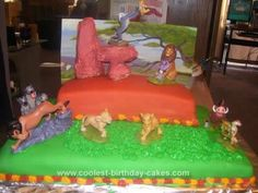 Homemade Lion King Birthday Cake: I made this Lion King birthday cake for my son's 4th birthday party. The cake is red velvet. I used food coloring to color the fondant and covered the