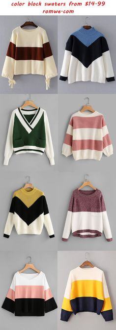 fall color block sweaters - romwe.com