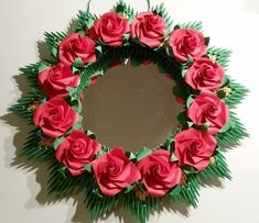 Origami Wreath with roses and Mirror image 0 Origami 101, Origami Wreath, Origami Rose, Origami Paper Art, Modular Origami, Origami Folding, Origami Pumpkin, Creative Crafts, Diy Crafts