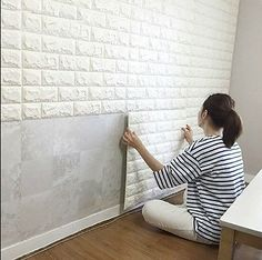 Ft Peel and Stick Wall Panels for TV Walls / Sofa Background Wall Decor, White Brick 6 Sq.Ft Peel and Stick Wall Panels for TV Walls / Sofa Background Wall Decor, White Brick Wallpaper White Brick Walls, White Paneling, White Bricks, White Wood, Red Bricks, Gold Wood, White Stone, Cheap Home Decor, Diy Home Decor