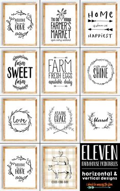 These 11 Farmhouse Printables are black and white prints available in both horizontal and vertical options, as well as both and sizes. Perfect for that farmhouse look. Farmhouse Signs, Farmhouse Decor, Modern Farmhouse, Industrial Farmhouse, Farmhouse Style, Farmhouse Wall Art, White Farmhouse, Farmhouse Furniture, Farmhouse Ideas