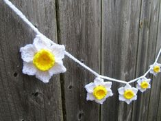 Daffodils - Narcissus - Jonquils - 6 flower garland bunting banner perfect for Mother's Day Spring Garden Party decoration