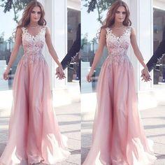 Sleeveless Floor-length Appliques A-line Chiffon Prom Dresses 2017