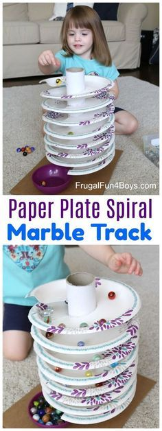 to Build a Paper Plate Spiral Marble Track How to Build a Paper Plate Spiral Marble Track - The marbles spin around and around down to the bottom!How to Build a Paper Plate Spiral Marble Track - The marbles spin around and around down to the bottom! Kids Crafts, Projects For Kids, Diy For Kids, Decor Crafts, Crafts For Children, Diy Toys For Toddlers, Crafts For Babies, Craft Projects, Easy Toddler Crafts