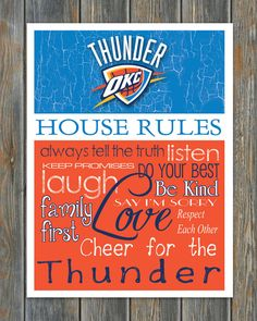 OKLAHOMA CITY THUNDER Basketball House Rules Art Print on Etsy, $13.00