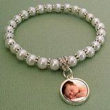 Mini Glass Pearl Photo Jewelry Charm Bracelet w/ Dangle Charm Kit