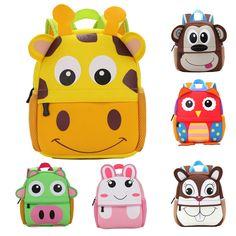 d18d683af90f 2017 New 3D Animal Children Backpacks Brand Design Girl Boys Backpack  Toddler Kids Neoprene School Bags Kindergarten Cartoon Bag