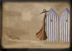 Illustration The beach 11x8 or 165x11 inches by sibylledodinot