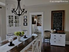 love this dining room set up and all the white & chalkboard!
