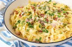 Go Egg Crazy for Easter With This Creamy Egg and Bacon Carbonara via Brit + Co Bacon Carbonara, Bacon Stuffed Mushrooms, Stuffed Peppers, Easter Dishes, Easter Eggs, Creamy Eggs, Cheesy Recipes, Pasta Salad Recipes, Recipes