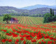 Oh I love this. Poppy landscape, with a free oil painting lesson.