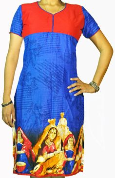 ABHISAR Kurti 004.Main:This Blue Cotton-Viscose Long Kurta is a fusion of elegance with ethnicity. The red butter silk vibrant yoke and the Portraits of Rajasthani Banjara women add aura to the dress. It's light weight and its soft texture makes it suitable for regular wear. When paired with minimum jewelries, it's perfect for office or a day out. Wear it with heavy jhumkas and bangles for a desi diva look in any celebration. Match the kurta with any cotton or silk bottom for the perfect…