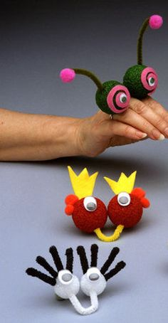 Finger Puppets Craft Idea For Kids – Handwerk und Basteln Kids Crafts, Summer Crafts, Toddler Crafts, Preschool Crafts, Projects For Kids, Diy For Kids, Craft Projects, Arts And Crafts, Creative Crafts