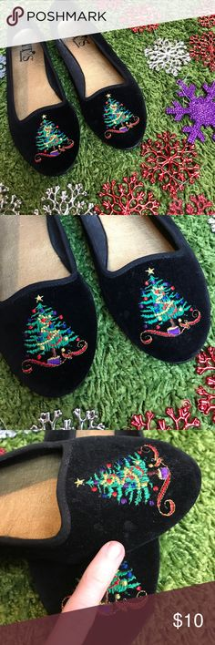 Christmas tree flats Perfect to pair with your ugly Christmas sweater! These are super cute and oh so festive. Missing their box. Good shape; a couple very vague spots on left shoe. These have a velvet look & feel. Bundling is fun; check out my other items! Home is smoke free/ cat friendly. No price talk in comments. No trades or holds. NO SPAM. it's happening Shoes Flats & Loafers