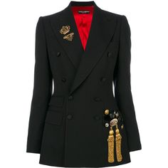 Dolce & Gabbana embellished blazer (450760 DZD) ❤ liked on Polyvore featuring outerwear, jackets, blazers, black, embellished blazer, military jackets, embroidered jacket, double-breasted military jackets and double breasted jacket
