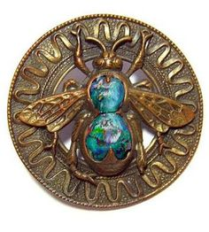 a gorgeous antique brass open-work button with honey bee motif, Leo Popper glass settings. ca. 1900