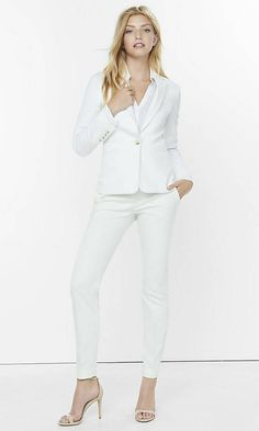 """Ivory 24"""" One Button Jacket 