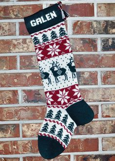 Personalized Knit Christmas Stocking- U. Wool - Reindeer- Made in the U. (Washington State) - Knitting for beginners,Knitting patterns,Knitting projects,Knitting cowl,Knitting blanket Knit Stockings, Knitted Christmas Stockings, Christmas Knitting, Santa Stocking, Christmas Stocking Pattern, Reindeer Christmas, Nordic Christmas, Halloween Christmas, Modern Christmas