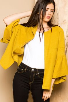 THML | Women's boxy mustard open jacket with bell sleeves
