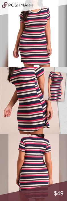 Plus Size Multi Colored Striped Dress Multi colored striped dress   Stretchy French Terry Bodice   Short sleeve with round neckline   70% Polyester 25% Rayon 5% Spandex Dresses