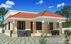 Floor Plan for 70 Sqm House Bungalow. Awesome Floor Plan for 70 Sqm House Bungalow. House Floor Planhouse Floor Plan T Country House Design, Kerala House Design, Simple House Design, House Front Design, Cool House Designs, Modern House Design, Roof Design, House Front Porch, Porch House Plans