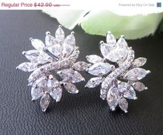 Wedding Jewelry, Bridal Pave Sttud AAA + Swiss Bridal Earrings, Pave Earrings, Celebrity Inspired, Cluster Flower Earrings, Free US Shipping
