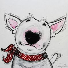 Buy WAGGING TAIL, Acrylic painting by Inez Froehlich on Artfinder. Discover thousands of other original paintings, prints, sculptures and photography from independent artists. Bull Terrier Tattoo, Bull Terrier Dog, Cartoon Drawings, Animal Drawings, Cartoon Dog, Paintings For Sale, Original Paintings, Dog Lady, English Bull Terriers