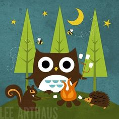 Bright Campfire Owl and Friends 6 x 6 Print by leearthaus