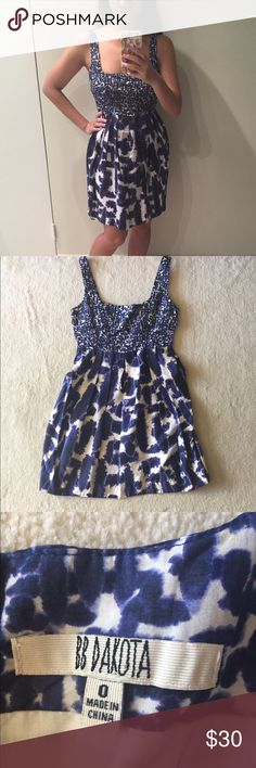Blue and white party dress! Blue and white party dress! Gently used in good condition. No trades. Please ask all questions before purchasing and use the offer button, thanks! BB Dakota Dresses