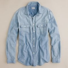 J.Crew Washed Selvedge Chambray Utility Shirt    Genuine Japanese selvedge cotton chambray is used for this shirt. Inspired by vintage workwear from the early 1900s. Heavy washing gives it a worn-in, instant-classic look and feel.