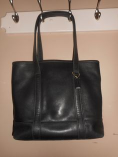 "LARGE VINTAGE COACH 15"" x 12"" Black Leather Tote/Shoulder Bag #C2S-6508 W/Hang Tag by COACHCROSSING on Etsy"