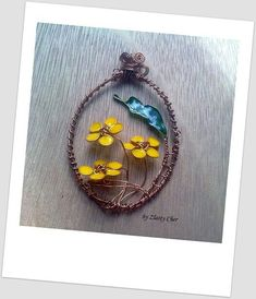 flowers with wire and nail polish, handmade