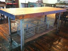 MADE TO ORDER - Reclaimed Wood Rustic Modern Industrial Butcher Block Kitchen Island