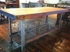 Industrial Butcher Block Kitchen Island  Reclaimed by ReworxCT