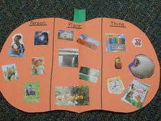 """It's Fall in the Hall. Create a patch of """"noun-kins"""" in the hallway. Each pumpkin features four people, four places, and four things!"""