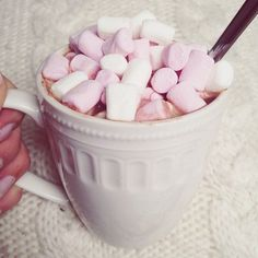 Hot chocolate and pink marshmallows ~ Pink Marshmallows, This Is Your Life, Cupcakes, Food Goals, Just Girly Things, Hot Chocolate, Chocolate Recipes, I Foods, Cocoa