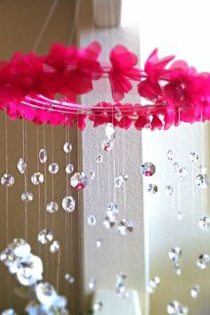 Hey, I found this really awesome Etsy listing at http://www.etsy.com/listing/157022233/crystal-baby-mobile-pink-baby-mobile